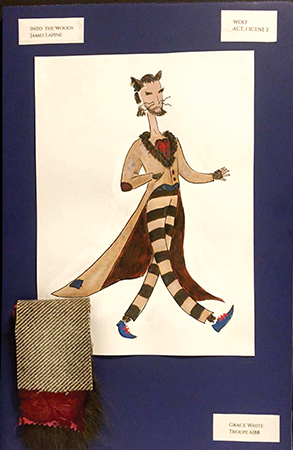 Grace White's costume rendering for the Wolf in Into the Woods.
