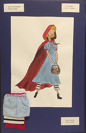 Grace white's costume rendering for Little Red Riding Hood in Into the Woods.