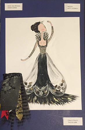 Grace White's costume rendering for the Witch in Into the Woods.