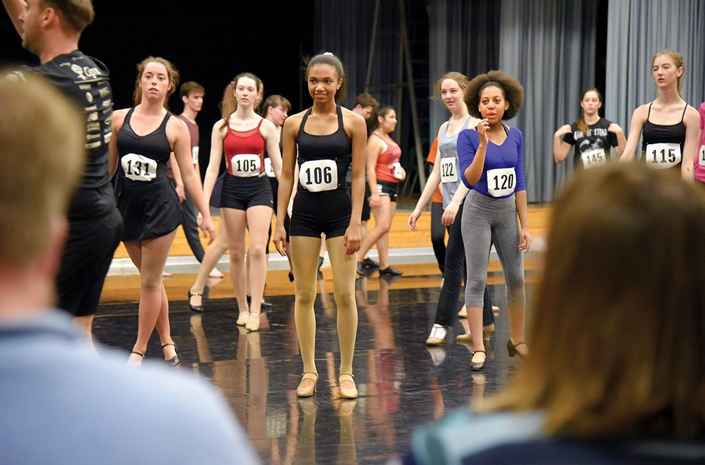 Thespians prepare for the college dance audition at the International Thespian Festival.