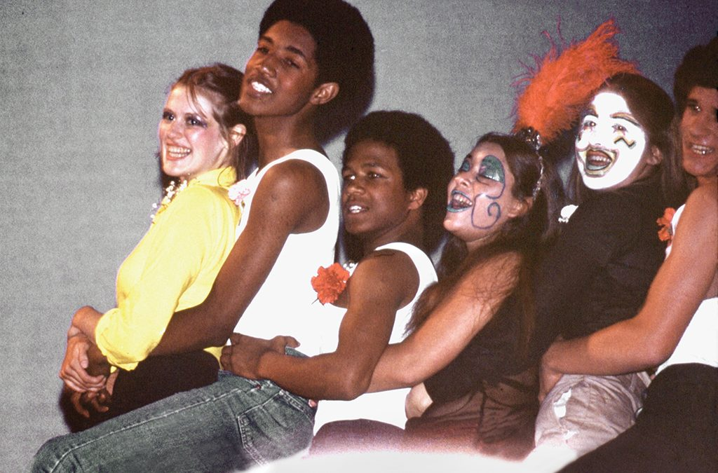 Graham, second from left, with his castmates in a Walnut Hills High School production of Carnival! in the late 1970s.