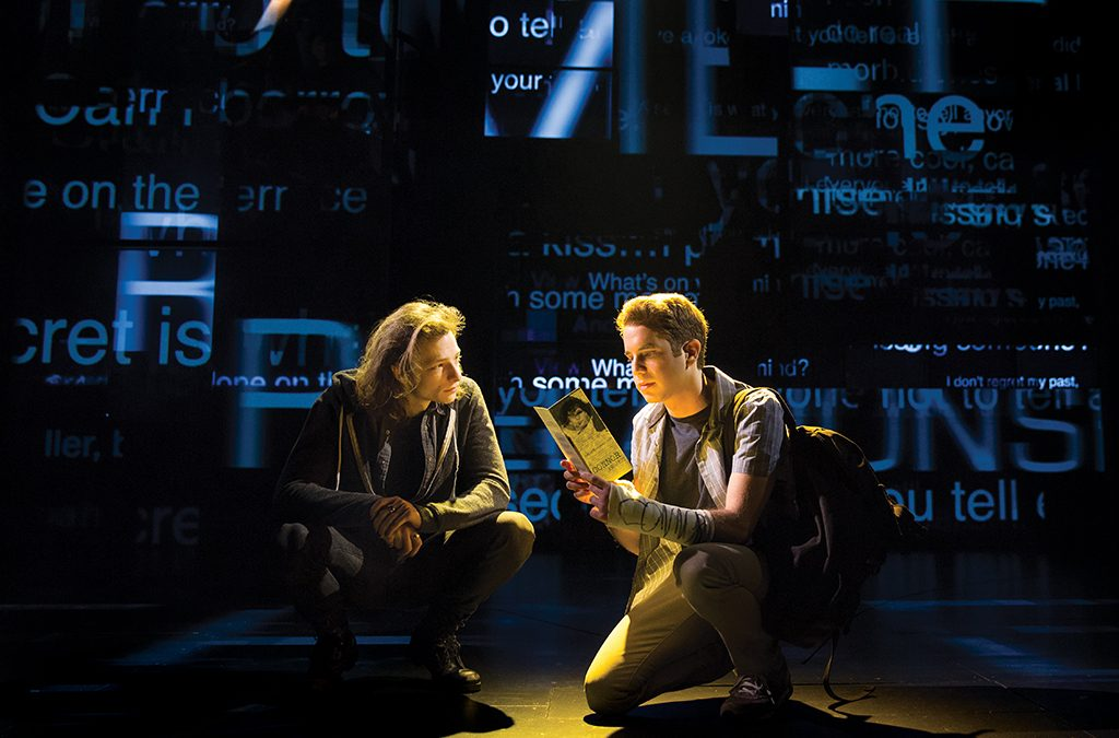 For Dear Evan Hansen, Nigrini surrounded cast members Mike Faist and Ben Platt with invasive, constantly shifting images representing social media culture.