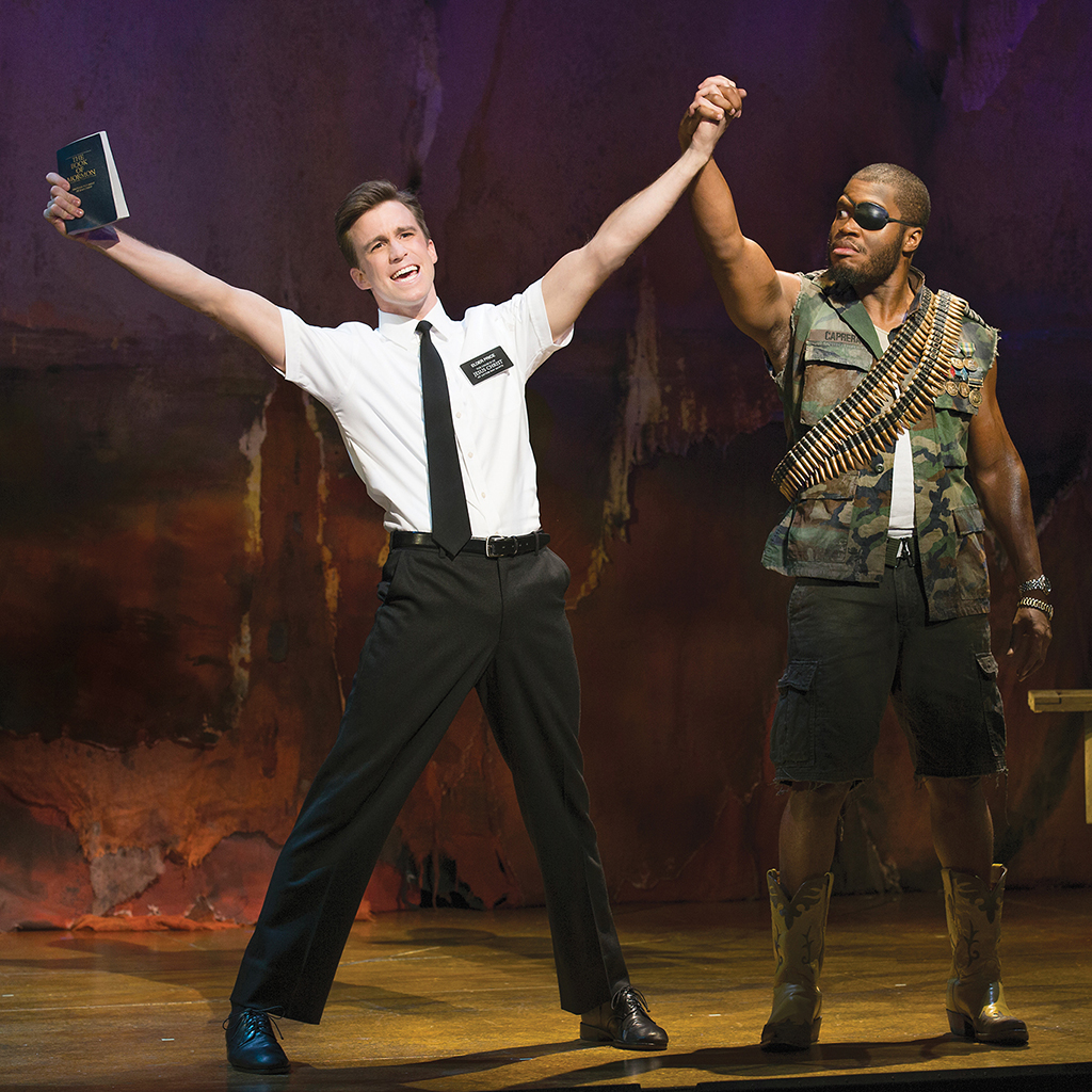Gavin Creel and Derrick Williams in The Book of Mormon.
