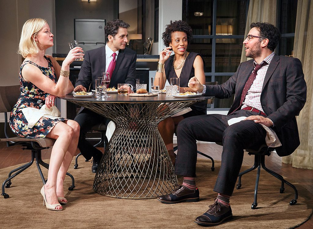 Gretchen Mol, Hari Dillon, Karen Pittman, and Josh Radnor in Disgraced.