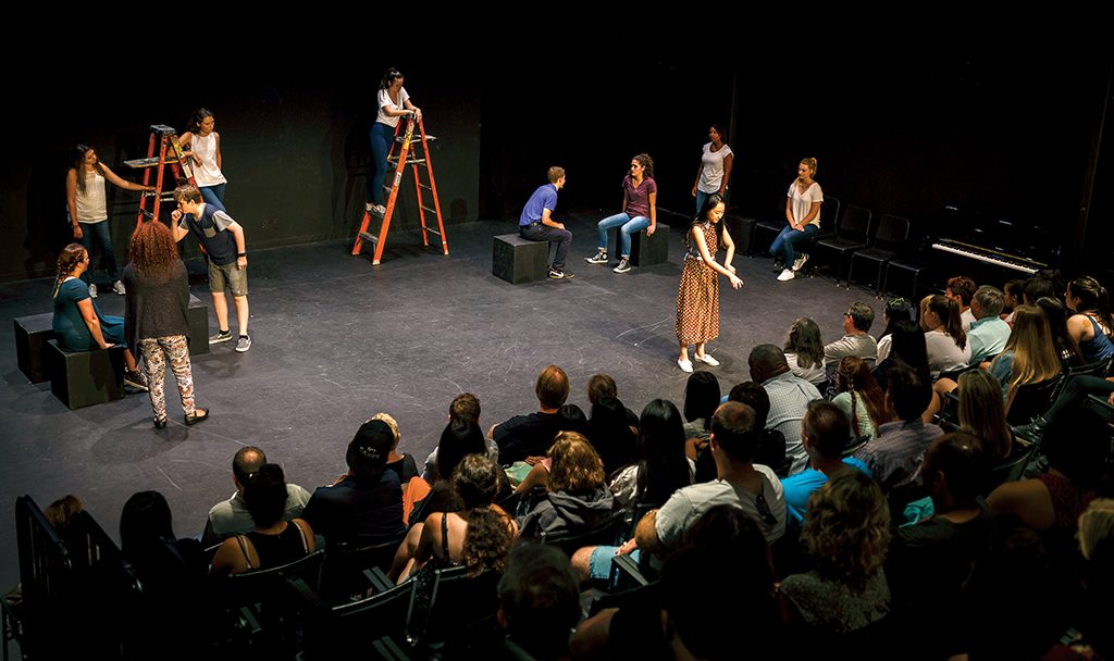 Students in the acting intensive present final presentations during the Summer Theatre Conservatory at USC