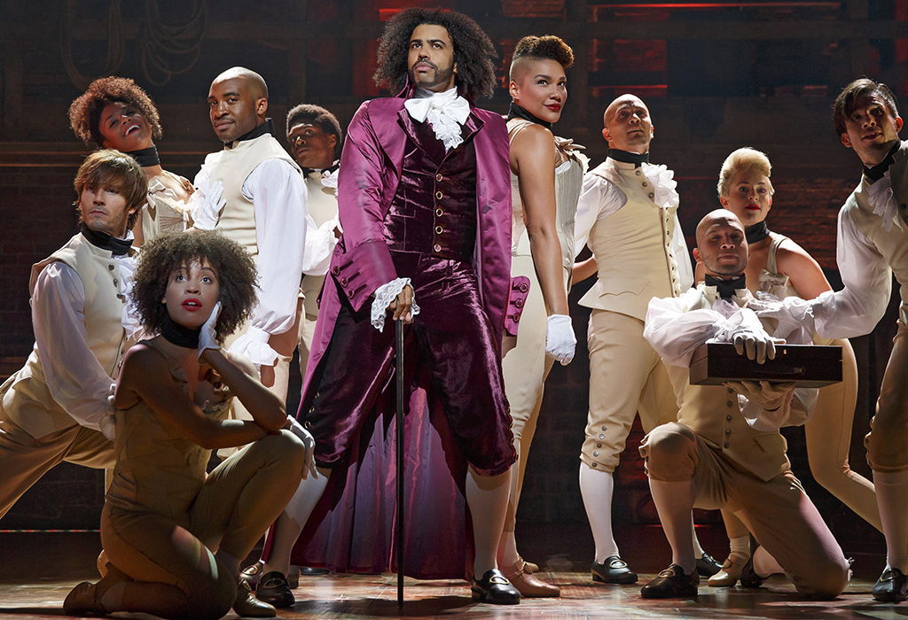 Daveed Diggs (center) as Thomas Jefferson with the company of Hamilton.