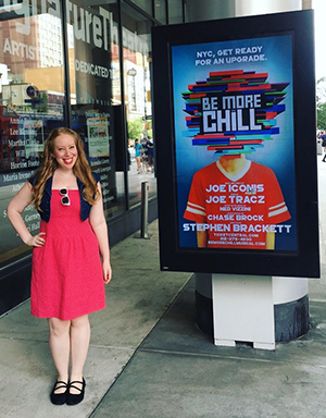 Jennifer Ashley Tepper in front of Signature Center for the 2018 Off-Broadway production of Be More Chill.
