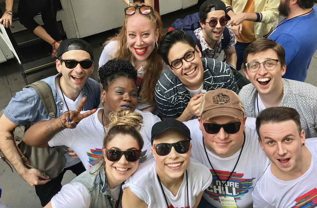 Jennifer Ashley Tepper (second from left in the back row) with the Be More Chill company at the 2018 Broadway in Bryant Park event.