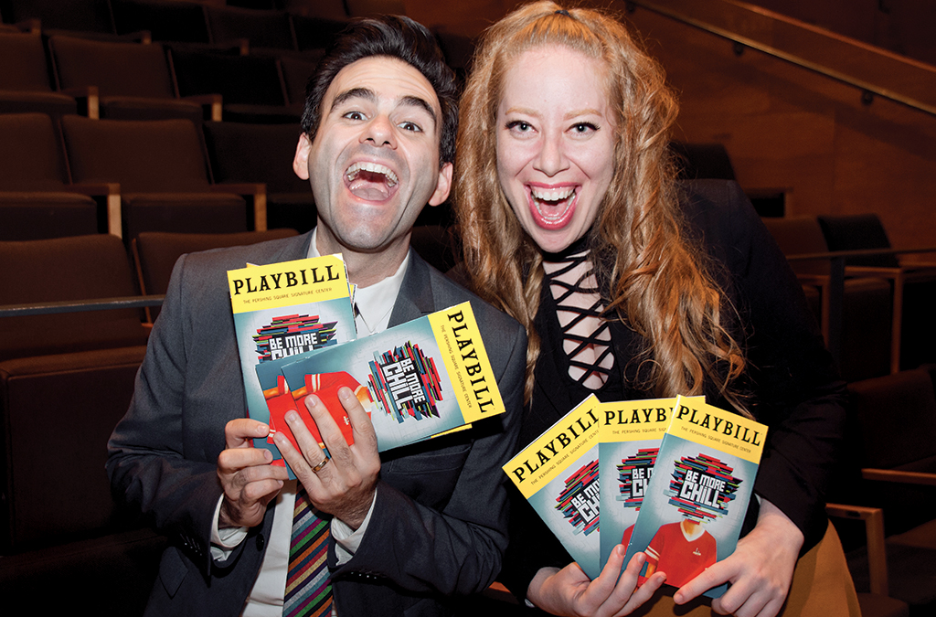Joe Iconis and Jennifer Ashley Tepper at the Signature Center during the Off-Broadway run of Be More Chill.