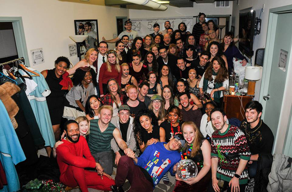 The cast of the 10th annual Joe Iconis Christmas Extravaganza gathers backstage.