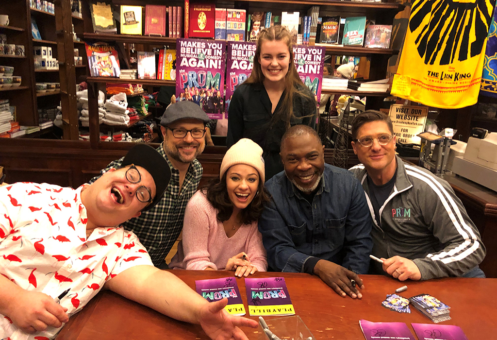 Alaina Bozarth (top center) joined The Prom cast and creative team members Josh Lamon, Isabelle McCalla, Michael Potts, and Christopher Sieber at a CD signing before the show.