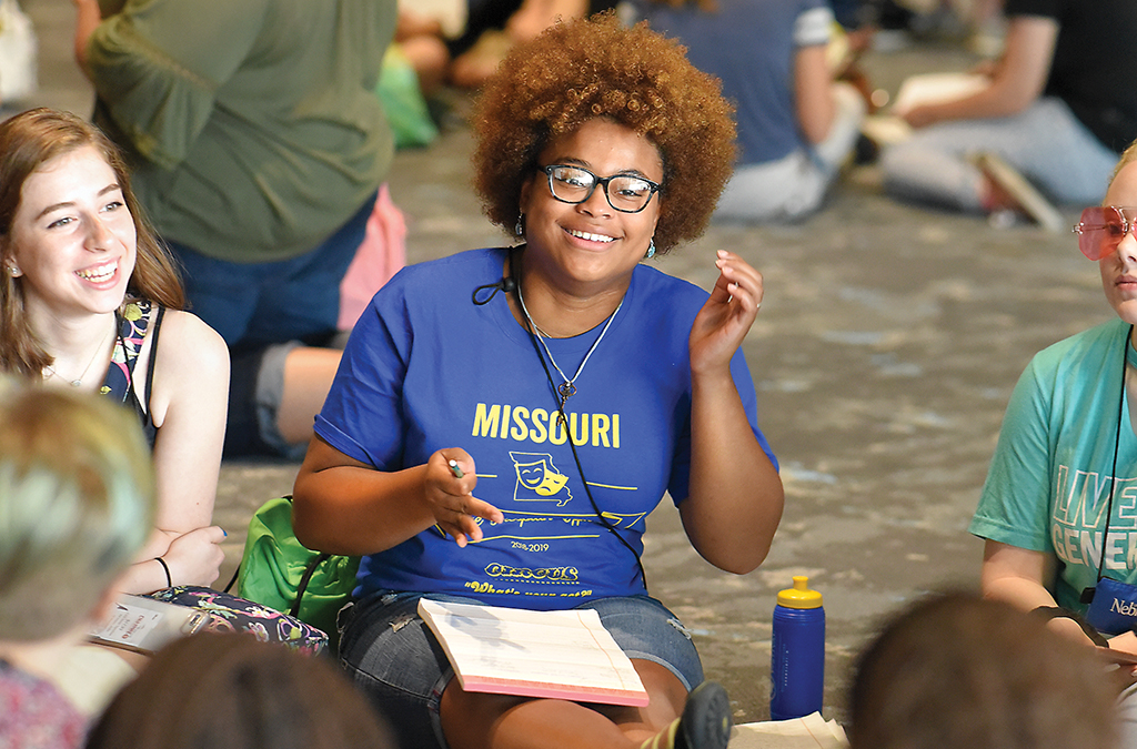 A Missouri Student Thespian Officer steers a leadership discussion.