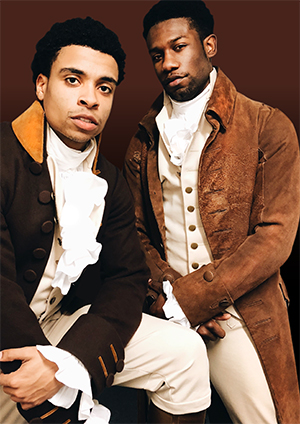 Phillip Johnson-Richardson (right, with Jamaal Fields-Green) in costume for the title role in the Chicago company of Hamilton.