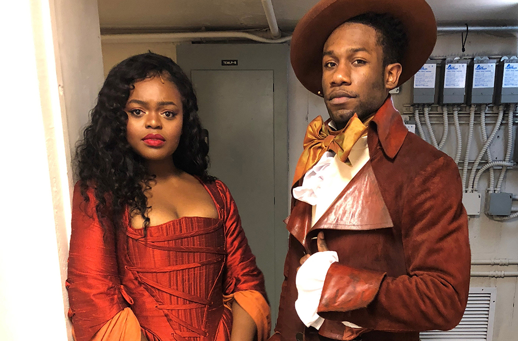 Sandra Okuboyejo and Phillip Johnson-Richardson as Maria and James Reynolds backstage at Chicago's Hamilton. Photo courtesy of Phillip Johnson-Richardson.