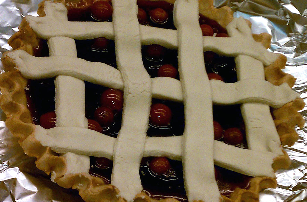 For added realism, weave strips of dough on top of the pie to create a lattice.