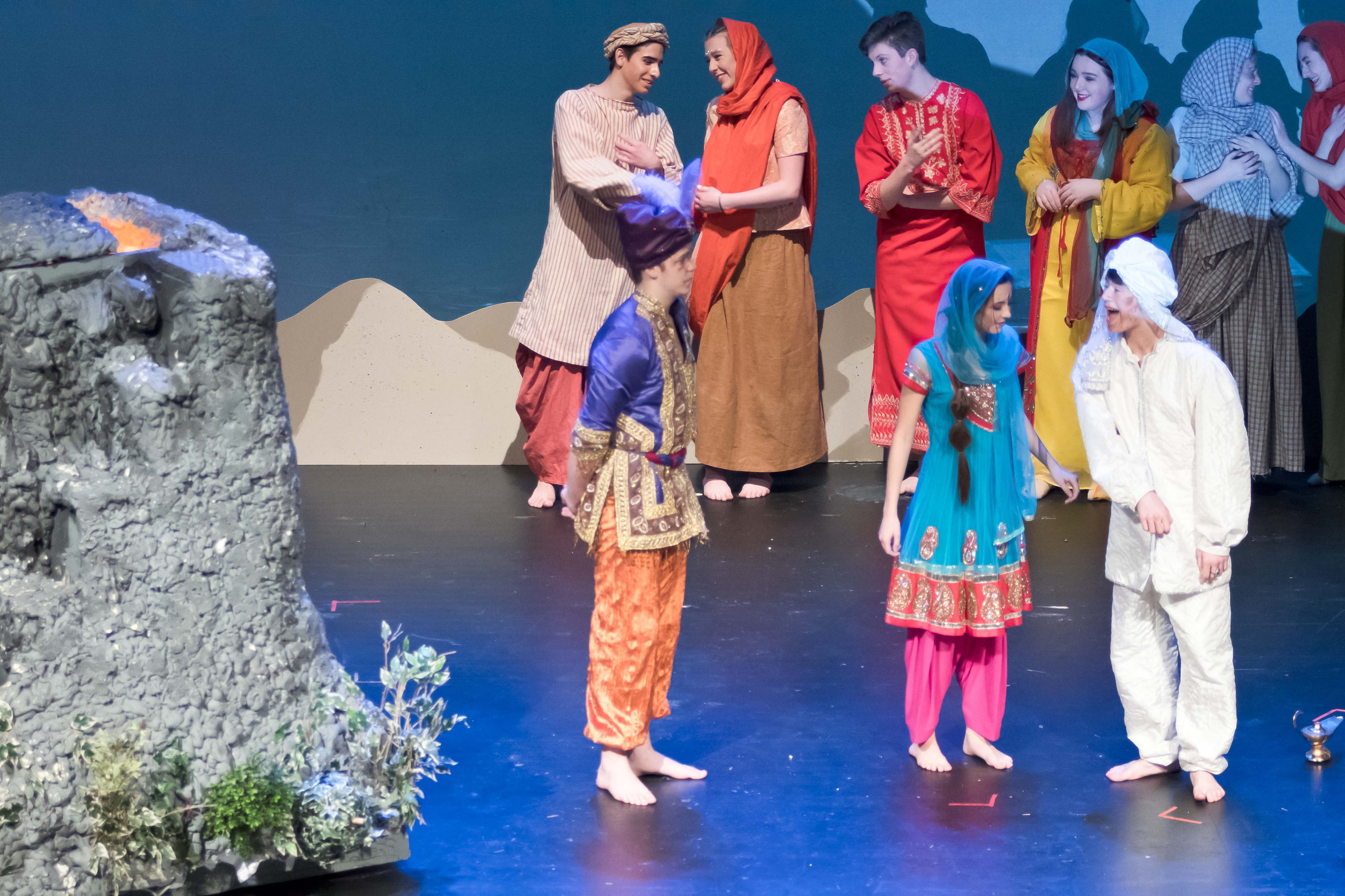 The company of Carmel High School's production of Aladdin and the Wonderful Lamp.