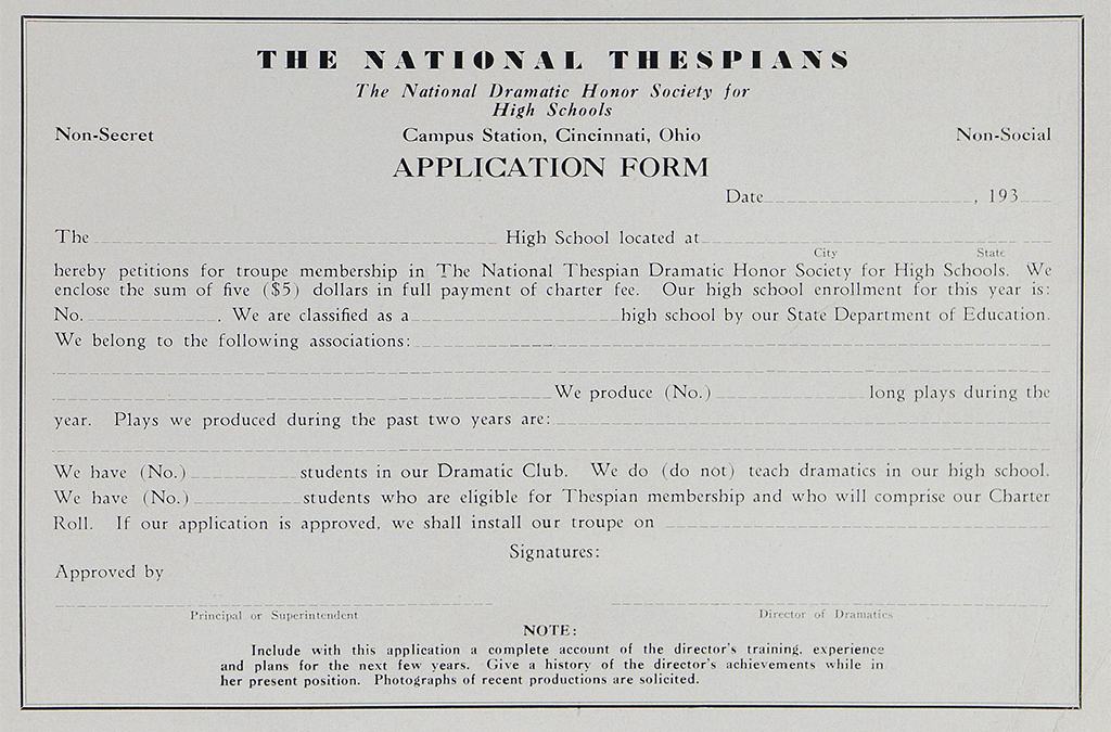 1935: Our organization is renamed the National Thespian Dramatic Honor Society, as seen on this 1935 application form.