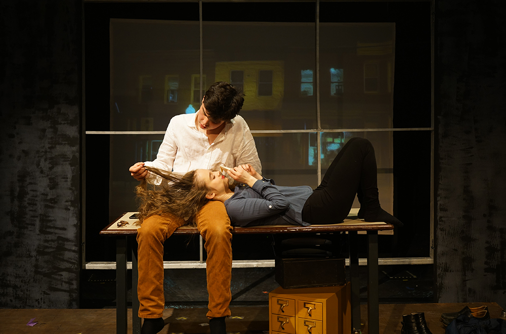 Leo Egger and Lucie Ciccone in the Durham School of the Art's production of Dead Man's Cell Phone.