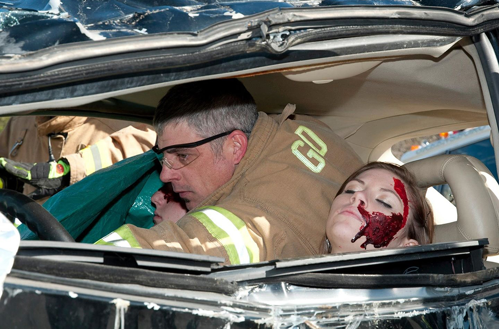 The basic blood recipe was used to make this crash reenactment for the Greensboro Police Department more realistic.
