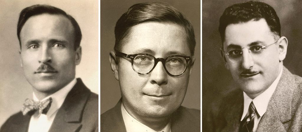 International Thespian Society founders (left to right) Paul Opp, Harry Leeper, and Ernest Bavely.