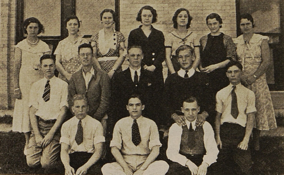 "1933: New inductees to Logan County High School's Troupe 87 in Sterling, Colo., promise to ""share my love of theatre,"" per the new Thespian pledge."