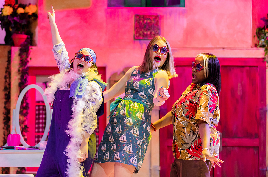 Maya Greenberg, Bella Zeimet, and Ashley Valentine in Wauwatosa West High School's production of Mamma Mia!