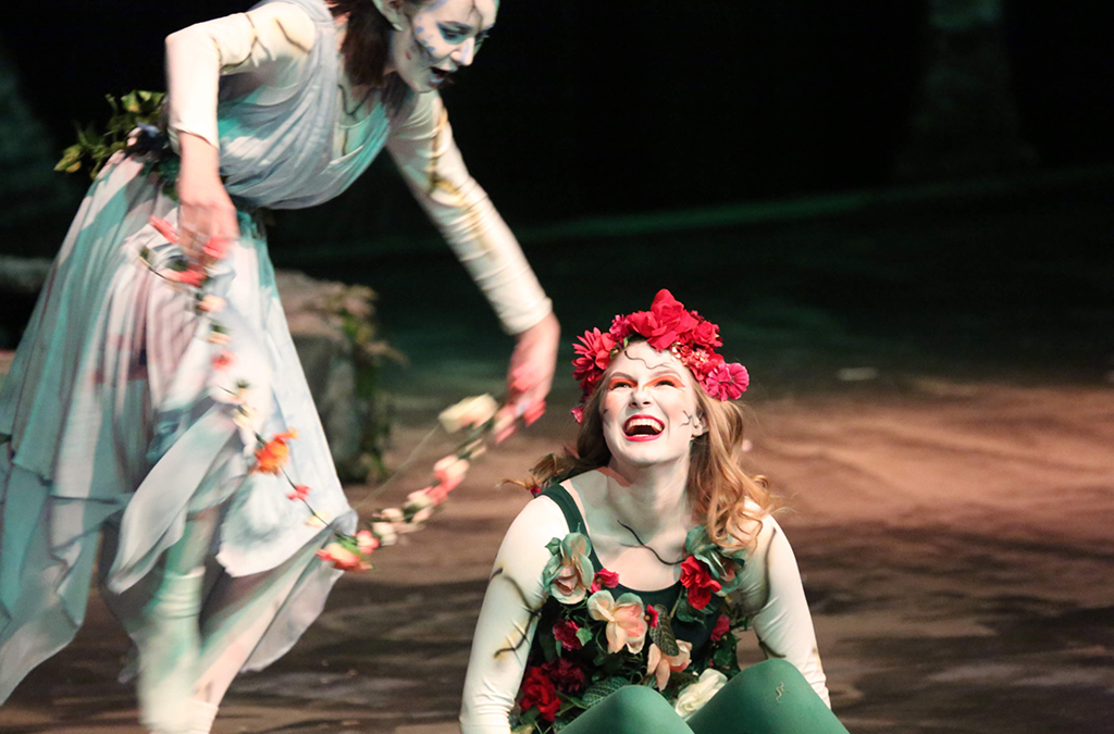 Kelsey Kerr and Alyssa Marchant in Rex Putnam High School's production of A Midsummer Night's Dream.