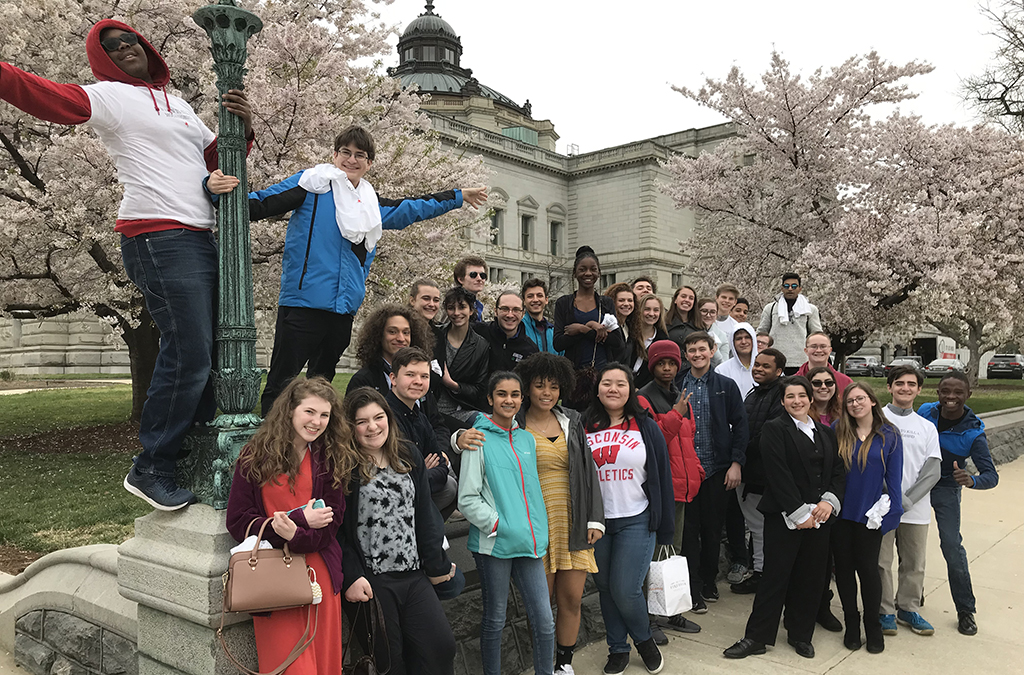 Thespians from Atholton High School outside the Library of Congress before the event.