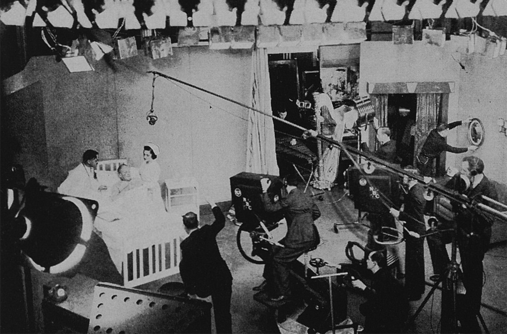 A scene in the NBC television studio during a history-making demonstration of RCA television before members of the Society of Motion Picture Engineers.