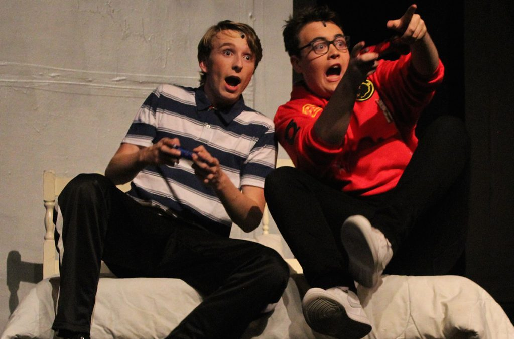 Quinn Hansen and Townes Genoves in South Eugene High School's production of Be More Chill.