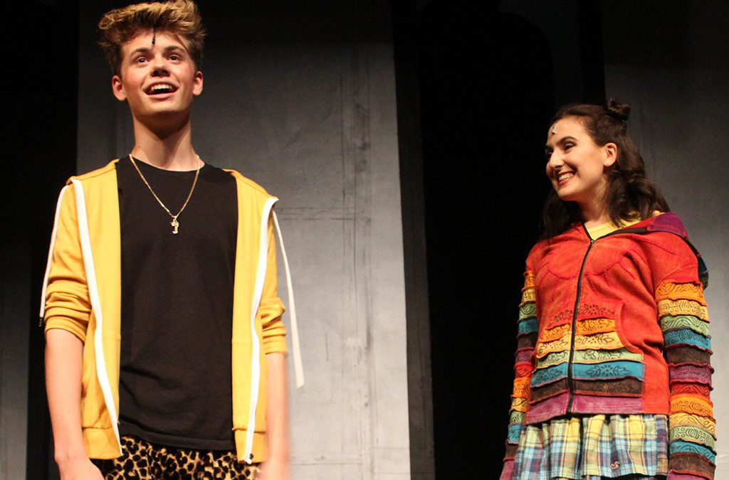 Oshen Parris-Austin as Jake and Caitie Connelly as Christine in South Eugene High School's production of Be More Chill.