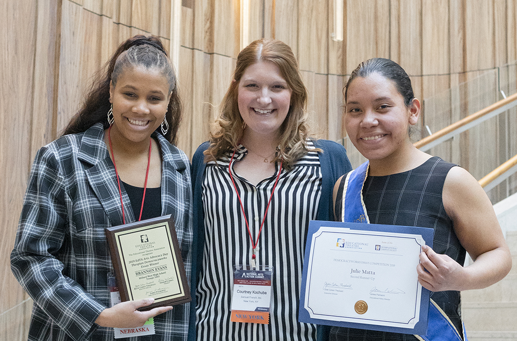 Democracyworks winner Brannon Evans (left) and second runner up Julie Matta with program sponsor Courtney Kochuba of Samuel French.