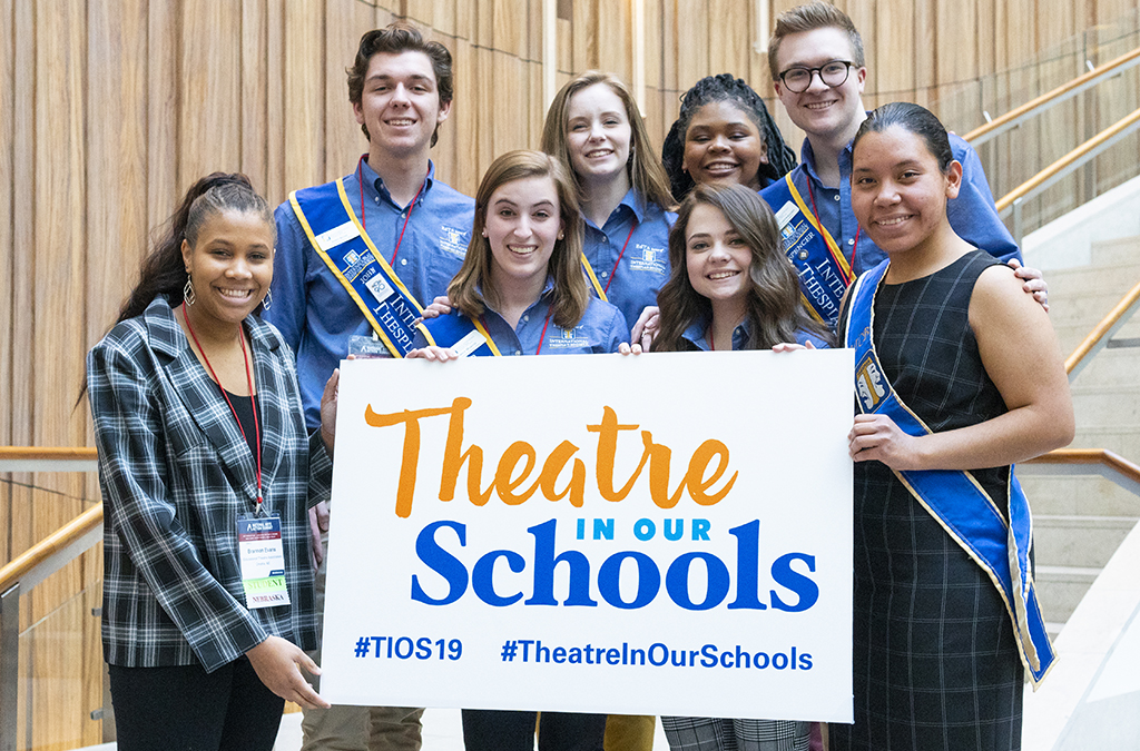 Brannon Evans (front, far left) with 2018-19 International Thespian Officers and Democracyworks runner-up Julie Matta during the National Arts Action Summit.
