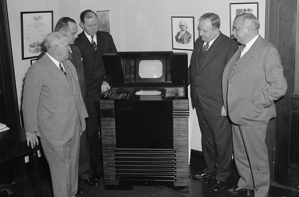 FCC commissioners inspect the latest in television in 1939.