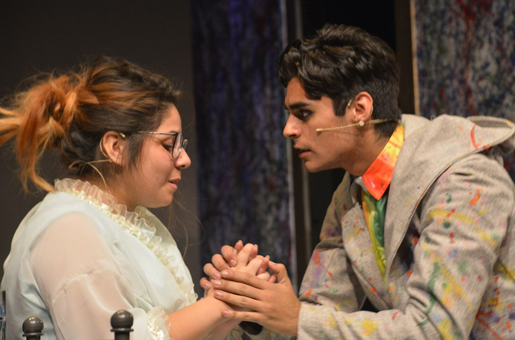 Jessica Angulo as Gertrude and Nathan Ayala in the title role in Garden City High School's production of Hamlet. Photo by Karime Loya.