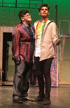 Johb Silva as Claudius and Nathan Ayala in the title role of Garden City High School's production of Hamlet.
