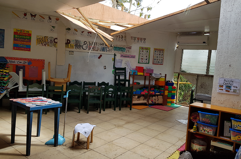 A typical example of the classroom damage caused by the super typhoon.