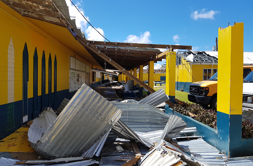 Hopwood Middle School in Saipan was badly damaged by Super Typhoon Yutu.
