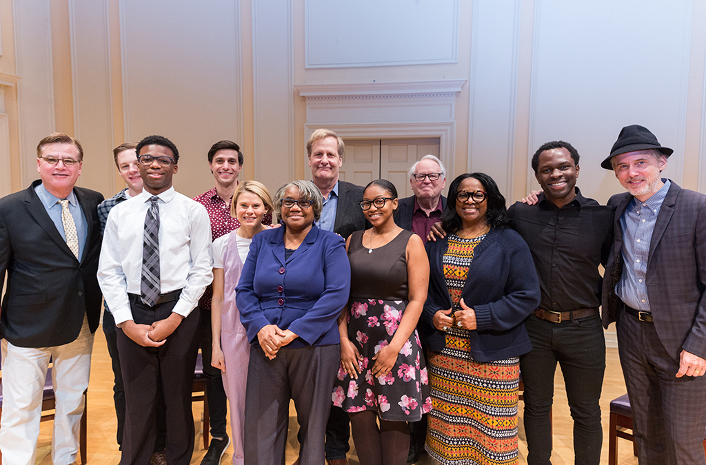 The cast and creative team of To Kill a Mockingbird with students and teachers from McKinley Technology High School: (left to right) Aaron Sorkin, Will Pullen, Honor Thespian Clark Gray, Gideon Glick, Celia Keenan-Bolger, Troupe Director Andri White, Jeff Daniels, Thespian Dasia Dyson, Dakin Matthews, LaTanya Richardson-Jackson, Gbenga Akinnagbe, and Neal Huff.