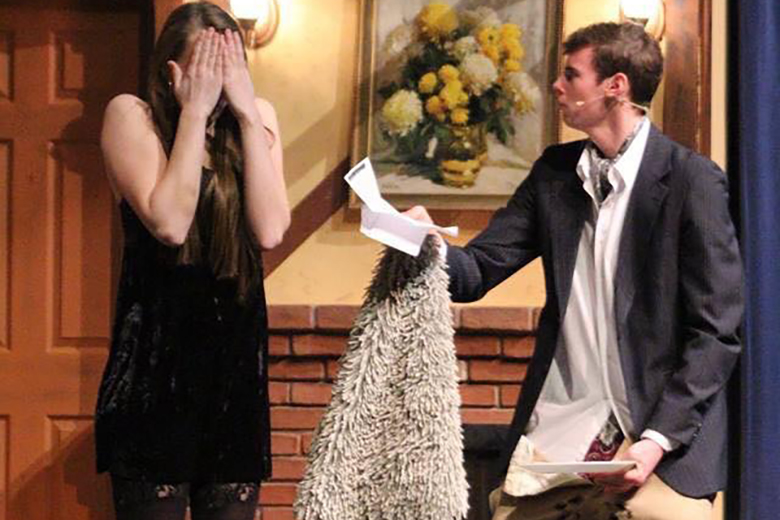 Meghan Smith and Kade Goss in McPherson High School's production of Noises Off.