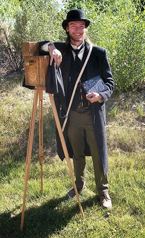 Mica Pointer as an 1890s cameraman during Bannack Days weekend of living history at Montana State Parks.