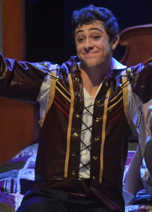 Jaren Lewison as William Shakespeare in J.J. Pearce High School's production of Shakespeare in Love.