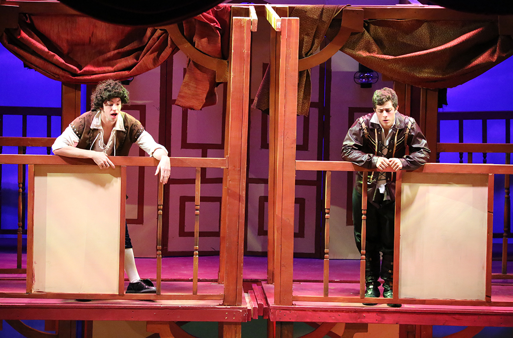 Tyler Wisner and Jaren Lewison in J.J. Pearce High School's production of Shakespeare in Love.