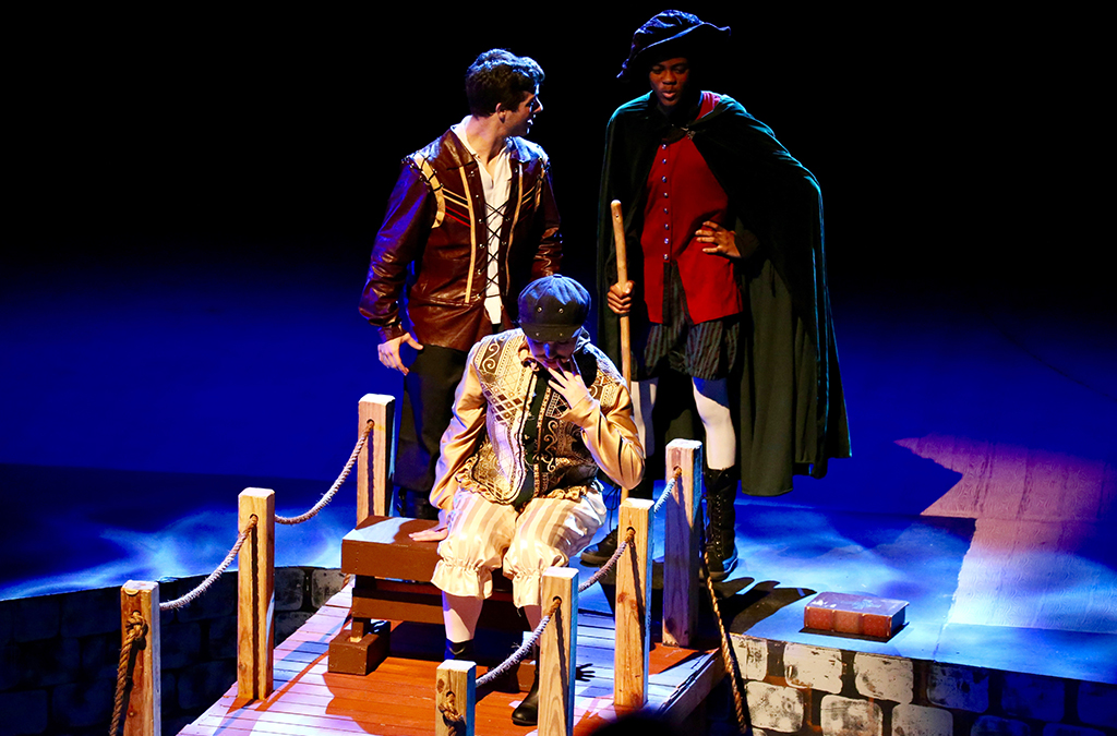 Jaren Lewison, Carly Koon, and Christian Walters in J.J. Pearce High School's production of Shakespeare in Love.