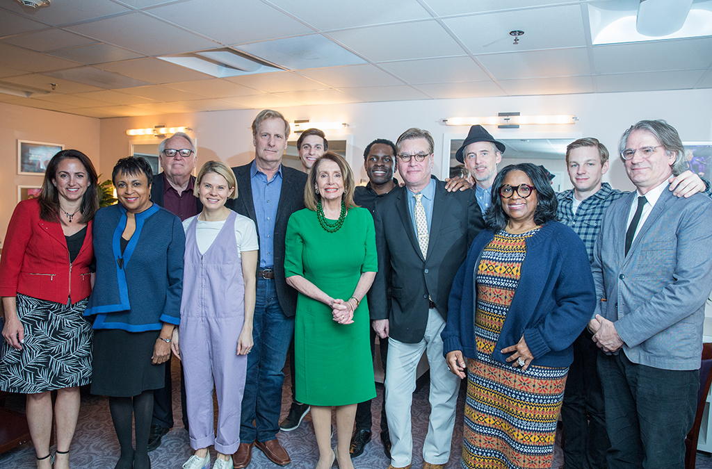 Julie Cohen Theobald, Librarian of Congress Carla Hayden, Dakin Matthews, Celia Keenan-Bolger, Jeff Daniels, Gideon Glick, House Speaker Nancy Pelosi, Gbenga Akinnagbe, Aaron Sorkin, Neal Huff, LaTanya Richardson Jackson, Will Pullen, Bartlett Sher in the green room at the Library of Congress.