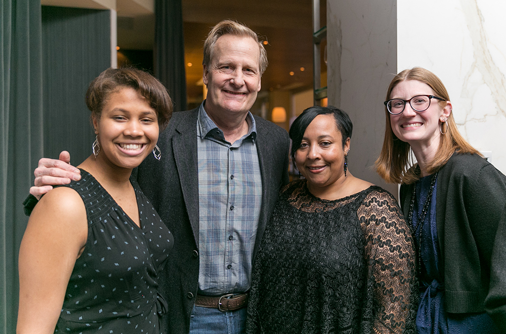 Democracyworks winner Brannon Evans, actor Jeff Daniels, Helen Evans, and teacher Brooke Phillips.