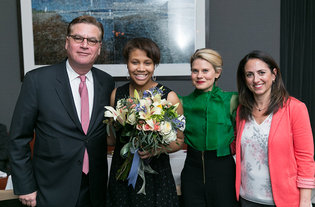Playwright Aaron Sorkin, Democracyworks winner Brannon Evans, actress Celia Keenan-Bolger, and EdTA Executive Director Julie Cohen Theobald.