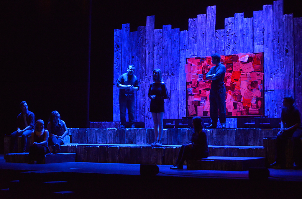 Olathe South High School's production of Trap created a mood and environment rather than a realistic setting, with nary a flat in sight.