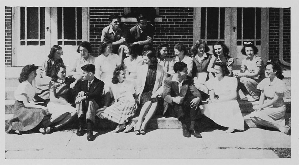 Friendships made through dramatics are built on mutual interests and experiences. Photo of Thespian Troupe 238 from Deland (Fla.) High School in March 1942.