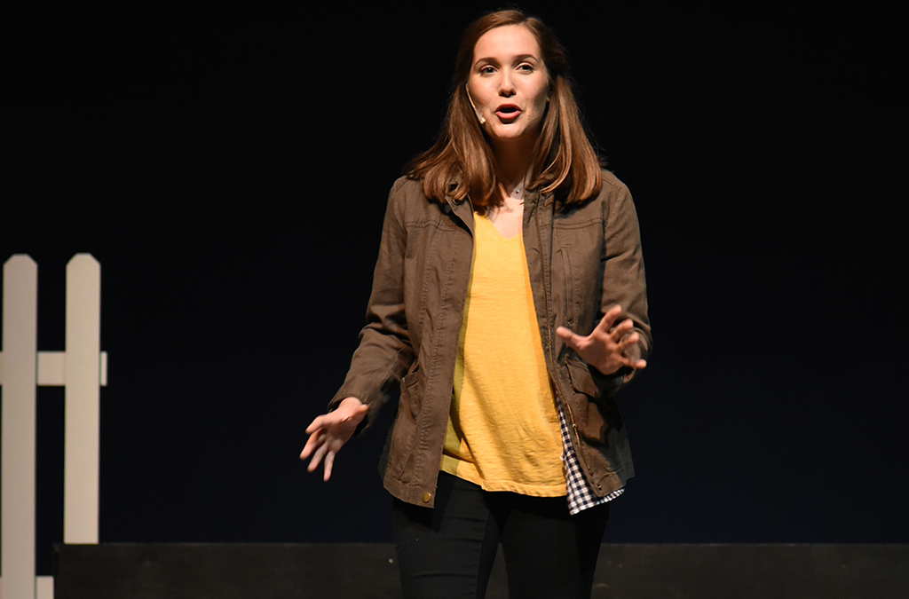 Olivia Behr in Parkland High School's production of 26 Pebbles.